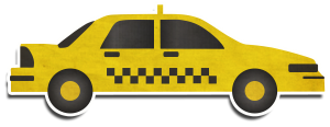 Traditional black and yellow taxi represented for Holiday Extras World Travel Lounge blog in an icon format.
